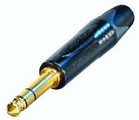 3 poliger 6.35 mm Klinkenstecker, vergoldete Kontakte, schwarzes Gehäuse