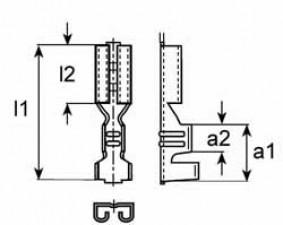 Lötöse, L:13.5, B:4.0, Messing versilbert, für Stecker D:1.3mm
