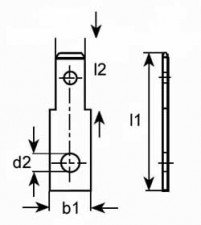 Steckzunge 2.8 x 0.5 mm, mit Befestigungsloch, Messing verzinnt
