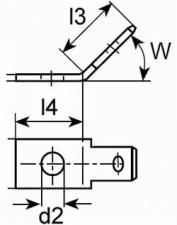 Steckzunge abgewinkelt 6.3x0.8mm, mit Befestigungsloch, Messing verzinnt