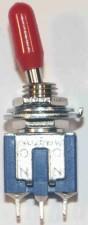 Miniatur - Kippschalter, Umschalter, 1-polig, Mittelstellung, rot