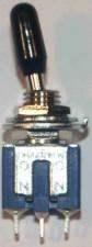 Miniatur - Kippschalter, Umschalter, Mittelstellung, 1-polig, schwarz