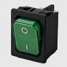 Wippschalter Grün, Ausschalter, 1-polig, mit Fluorlampe 220V
