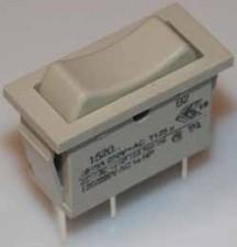 Wippschalter - Umschalter mit Mittelstellung, 10AMP / 250V / 1-polig, Impuls, grau.