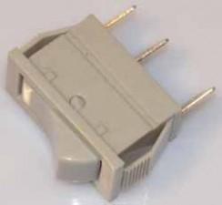 Wippschalter - Umschalter, 10AMP /  250V, 1-polig, Impuls, grau.