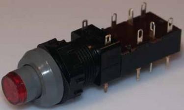 Netz-Druckschalter beleuchtet, grau / rot, rund