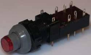 Netz-Druckschalter beleuchtet, grau / rot, rund.