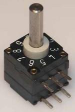 Miniatur-Codierschalter für Leiterplatten BCD, 10 Raststellungen, kurzschliessend c/c, mit Achse, Horizontal