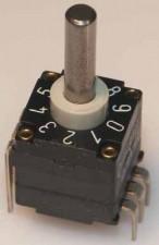 Miniatur-Codierschalter für Leiterplatten Hexadezimal, 16 Raststellungen, unterbrechend non c/c, mit Achse, Vertikal