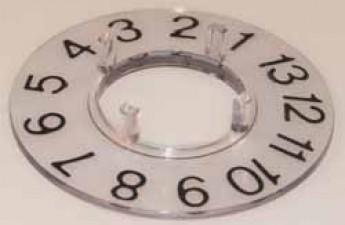 Skalenscheibe zu Knopf ⌀21mm, 27°,40', 1-13