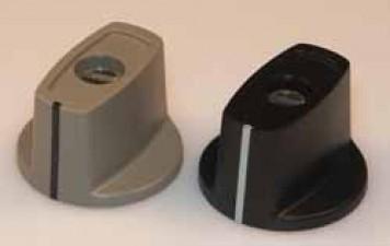 Knebelknopf D:16 mm d:4 mm H: 15.8 mm  mit Spannzangenbefestigung, grau matt