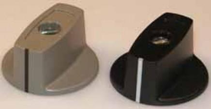 Knebelknopf  D:31 mm d:6 mm mit Spannzangenbefestigung, schwarz matt