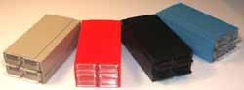 Allbox-Schubladensystem, rot, mit 4 Schubladen, 120 x 62 x 40 mm