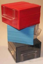 Allbox-Schubladensystem, rot, mit 1 Schublade, 120 x 124 x 80 mm