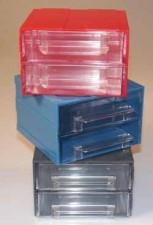 Allbox-Schubladensystem, blau, mit 2 Schubladen, 120 x 124 x 80 mm