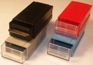 Allbox-Schubladensystem, schwarz, mit 1 Schublade, 120 x 62 x 40 mm