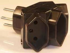 Mehrfachstecker Typ 13, Schwarz