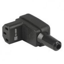 IEC Gerätesteckdose C13 für Kabelmontage, abgewinkelt, schwarz