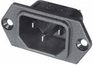 Einbau-Gerätestecker, Flachsteckeranschluss 6.3x0.8mm
