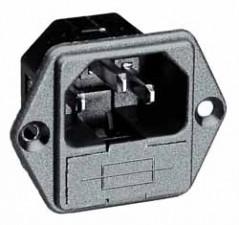Gerätestecker mit Sicherungshalter, Flachsteckeranschluss  6.3x0.8mm