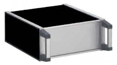 Apparate-Gehäuse, kunststoffbeschichtet / Skinplate,  231.5 x 250 x 102 mm, schwarz