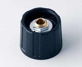 Drehknopf ⌀20mm, 6mm abgesetzt, schwarz ohne Markierung