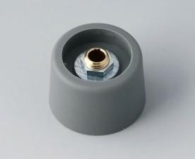COM-KNOBS Knopf ⌀ 23, grau, Achsbohrung durchgehend: 4mm