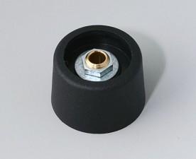 COM-KNOBS Knopf ⌀ 23, schwarz, Achsbohrung durchgehend: 4mm