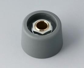 COM-KNOBS Knopf ⌀ 23, grau, Achsbohrung durchgehend: 6mm