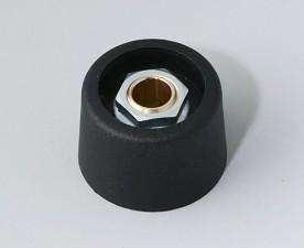COM-KNOBS Knopf ⌀ 23, schwarz, Achsbohrung durchgehend: 6mm