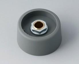 COM-KNOBS Knopf ⌀ 31, grau, Achsbohrung durchgehend: 6mm