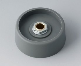 COM-KNOBS Knopf ⌀ 40, grau, Achsbohrung durchgehend: 6mm