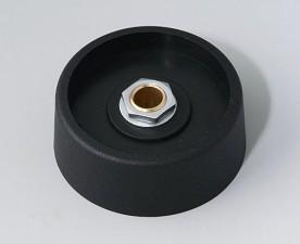 COM-KNOBS Knopf ⌀ 40, schwarz, Achsbohrung durchgehend: 6mm