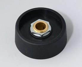 COM-KNOBS Knopf ⌀ 40, schwarz, Achsbohrung durchgehend: 8mm