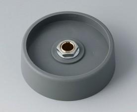 COM-KNOBS Knopf ⌀ 50, grau, Achsbohrung durchgehend: 6mm