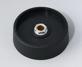 COM-KNOBS Knopf ⌀ 50, schwarz, Achsbohrung durchgehend: 6mm