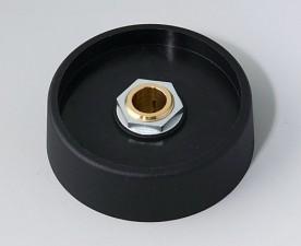 COM-KNOBS Knopf ⌀ 50, schwarz, Achsbohrung durchgehend: 8mm