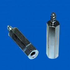Abstandsbolzen M2.5x10, Stahl, Schneidgewinde