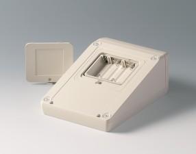 Gehäuse UNITEC M, Oberteil 1.4 Frontteil 1.4, 210 x 148 x 80, grauweiss mit Batteriefach 5 x AA