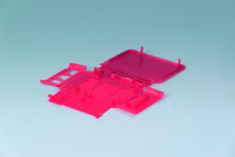 Klappgehäuse RASPBERRY-Case Pi B+ / Pi 2 B, 210 x 180 x 16, himbeerrot transluzent