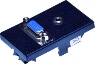 FLF Montageplatte schwarz, mit Metallklammern, 1 x Klinkenbuchse stereo, 1 x VGA