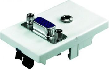 FLF Montageplatte weiss, mit Metallklammern, 1 x Klinkenbuchse stereo, 1 x VGA