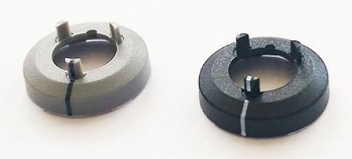 Mutterabdeckung zu Knopf ⌀10mm, schwarz mit Strich