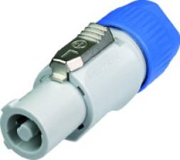 3-poliger Kabelbuchse mit Verriegelung, B-Typ für 'power-out', Schraubenschlüsse, grau / blau