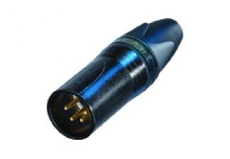 4 poliger Kabelstecker, XX Serie, schwarzverchromtes Gehäuse, Gold beschichtete Kontakte