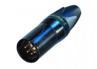 5 poliger Kabelstecker, XX Serie, schwarzverchromtes Gehäuse, Gold beschichtete Kontakte