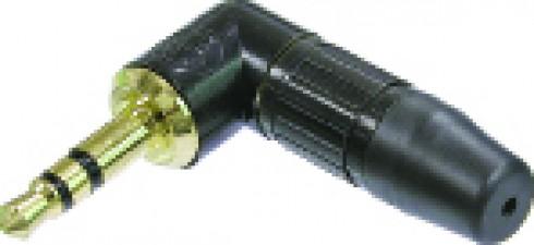 3 poliger 3.5 mm Audio Winkel-Klinkenstecker, Lötanschlüsse, Zugentlastung, schwarz-verchromtes Gehäuse, vergoldete Kontakte