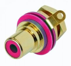 Cinch (RCA) Einbaubuchse mit vergoldeten Kontakten, Lötanschlüssen, Isolationsring rot