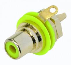Cinch (RCA) Einbaubuchse mit vergoldeten Kontakten, Lötanschlüssen, Isolationsring gelb