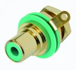 Cinch (RCA) Einbaubuchse mit vergoldeten Kontakten, Lötanschlüssen, Isolationsring grün